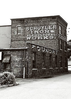 Schuyler Iron Building Black and White by Trina Ansel