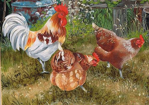Scratching Pecking  Pals by Val Stokes