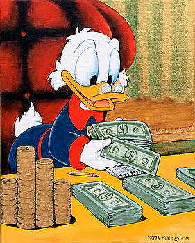 Scrooge McDuck Counting Money by Victor Minca