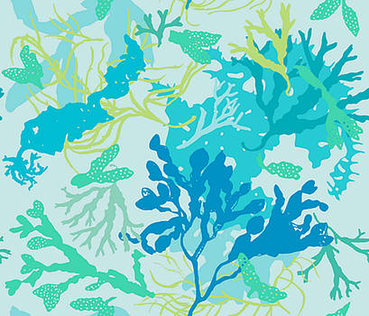 Sea flowers- aque by Anthony Fishburne