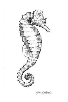 Seahorse Black and White Sketch by Karen Whitworth