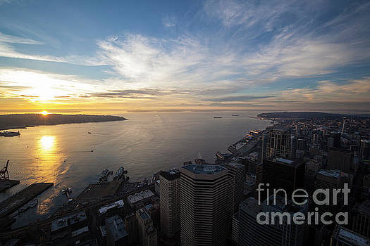 Seattle and Elliott Bay at Sunset by Mike Reid