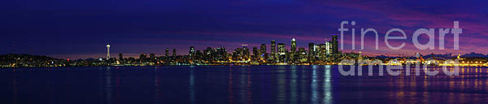 Seattle Cityscape Sunrise Panorama Light by Mike Reid
