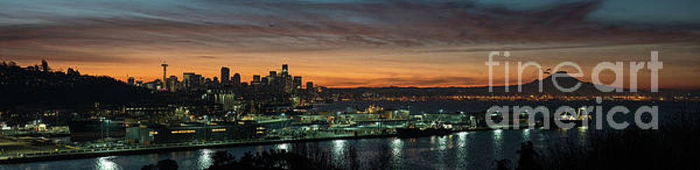 Seattle Early Morning Sunrise Panorama by Mike Reid