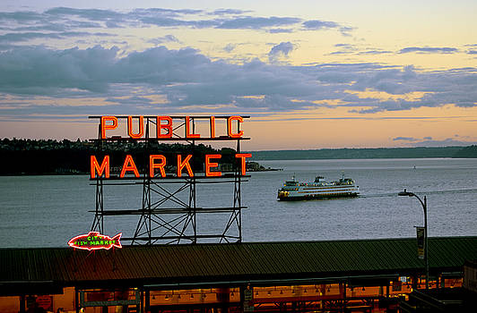 Seattle Ferry at Dusk by Ed Rooney