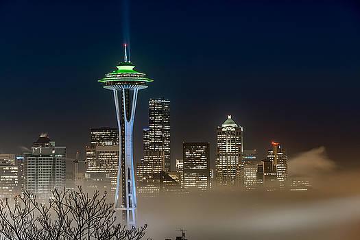 Seattle Foggy Night Lights by Ken Stanback