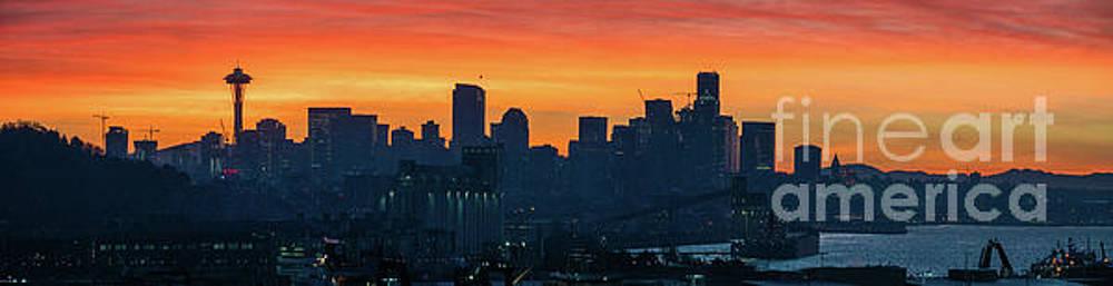 Seattle Skyline Skies On Fire by Mike Reid