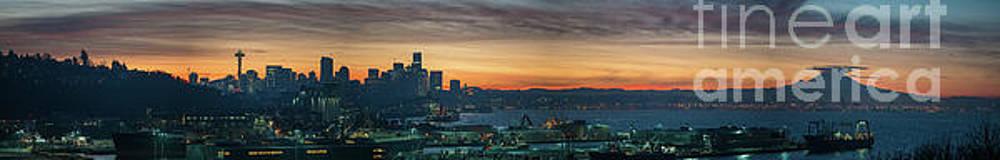 Seattle Skyline Sunrise Pano with a Lenticular Cloud on Rainier by Mike Reid
