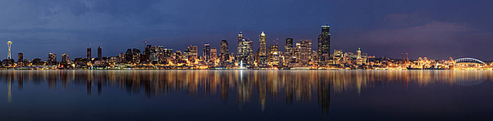 Seattle Skyline Panorama by Wesley Allen Shaw