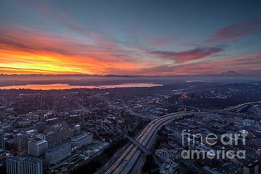 Seattle Sunrise from the Columbia Center by Mike Reid