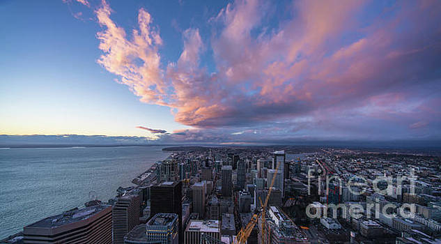 Seattle Sunset Cloudscape from Above by Mike Reid
