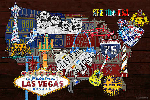 See the USA Vintage Travel Map Recycled License Plate Art of American Landmarks by Design Turnpike
