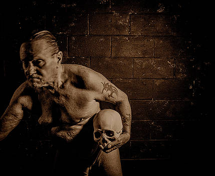Self-portrait with skull, 11.29.2016 by Wayne Higgs