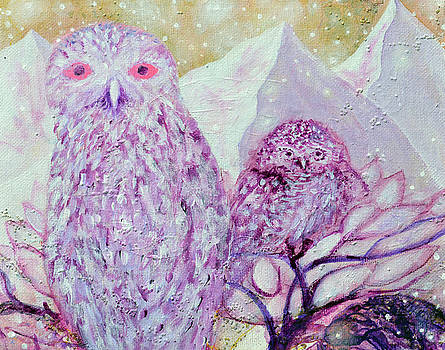 Seventh Chakra Angels Owls In the Light by Ashleigh Dyan Bayer