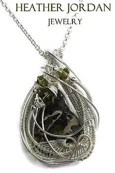 Seymchan Pallasite Meteorite Wire-Wrapped Pendant in Tarnish-Resistant Sterling Silver with Swarovsk by Heather Jordan