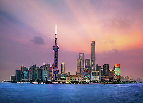 Shanghai, China city skyline  by Anek Suwannaphoom
