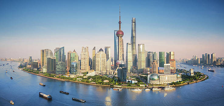 Shanghai skyline with modern urban skyscrapers by Anek Suwannaphoom