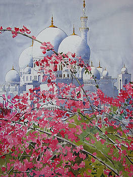 Sheikh Zayed Mosque and Bougainvillea by Martin Giesen