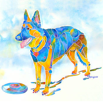 Shepherd with Frisbee - Play with Me by Jo Lynch