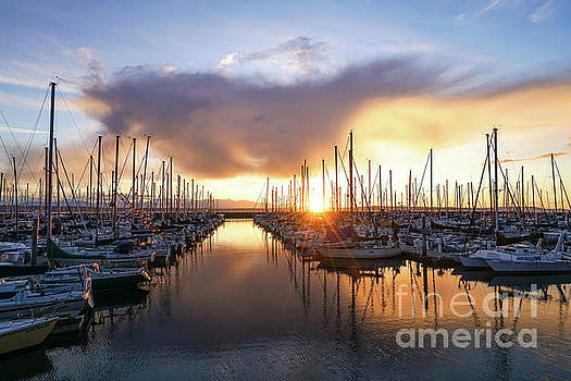 Shilshole Marina Golden Sunset by Mike Reid