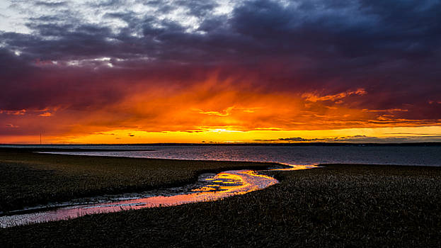 Shinnecock Bay Red Sky by Ryan Moore