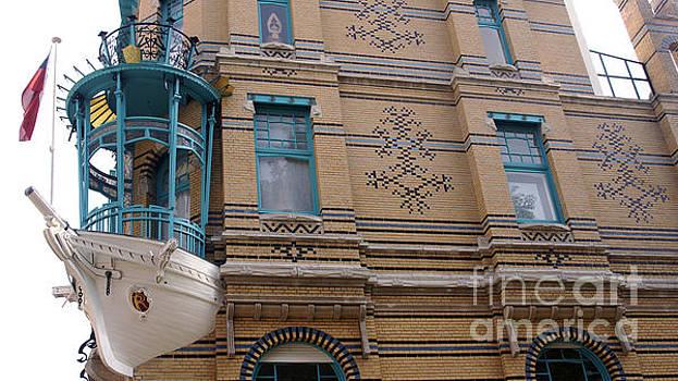 Ship as a facade decoration in Antwerp Belgium by Eva-Maria Di Bella
