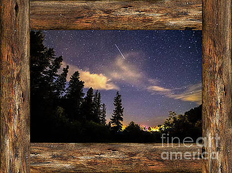 James BO Insogna - Shooting Star Rustic Wood Window View