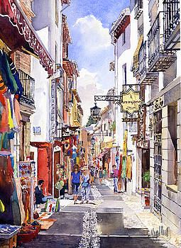 Shops in the Albaicin Granada by Margaret Merry