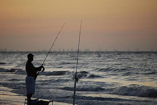Shoreline Fisherman by Peter  McIntosh