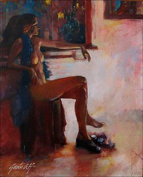 Show Girl in Blue Boa by Gavin Calf