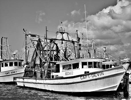 TONY GRIDER - SHRIMP BOATS MONOCROME