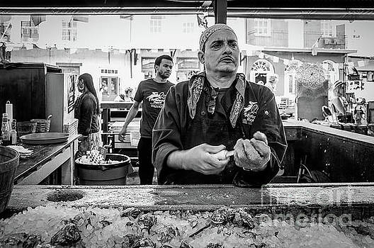 Shucking Oysters 2 - French Quarter- bw by Kathleen K Parker