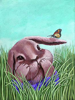Shy Bunny - original painting by Linda Apple