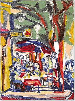 Sidewalk Cafe at the Corner by Nancy Rourke