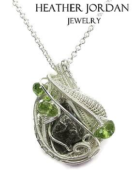 Sikhote-Alin Meteorite Wire-Wrapped Pendant in Tarnish-Resistant Sterling Silver with Peridot -24 by Heather Jordan