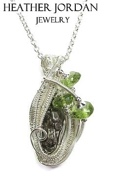 Sikhote-Alin Meteorite Wire-Wrapped Pendant in Tarnish-Resistant Sterling Silver with Peridot - 25 by Heather Jordan