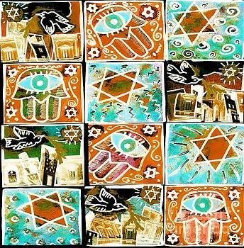 SILBERZWEIG - Scenes Of Israel - Aqua Copper - by Sandra Silberzweig