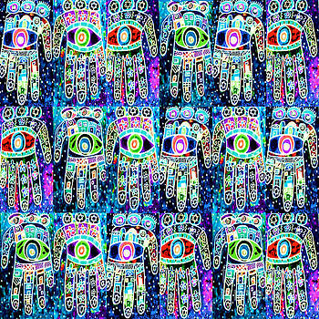 SILBERZWEIG - Vintage Batik Aqua Sapphire Hamsas - by Sandra Silberzweig
