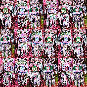 SILBERZWEIG - Vintage Batik Cherry Rose Hamsas - by Sandra Silberzweig