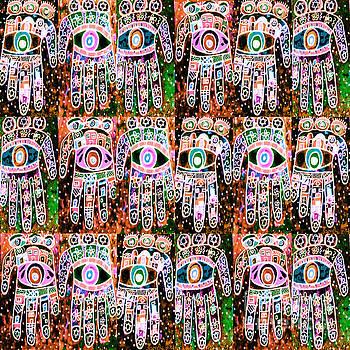 SILBERZWEIG - Vintage Batik Coral Lime Hamsas - by Sandra Silberzweig