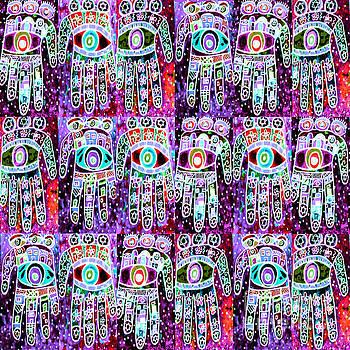 SILBERZWEIG - Vintage Batik Ruby Lilac Hamsas - by Sandra Silberzweig