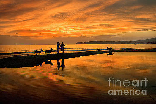 Silhouette and Amazing Sunset in Thassos by Daliana Pacuraru
