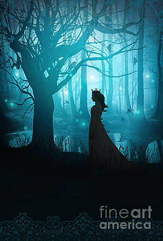 Sandra Cunningham - Silhouette of a womanin in a forest at twilight