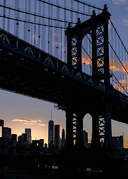 Silhouette of the Manhattan Bridge by Dick Wood