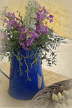 Silk Flowers Blue Pitcher and Garlic Buds by Kathy Barney