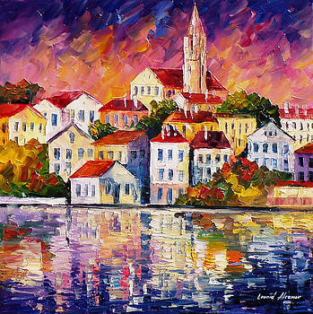 Simple Town - PALETTE KNIFE Oil Painting On Canvas By Leonid Afremov by Leonid Afremov