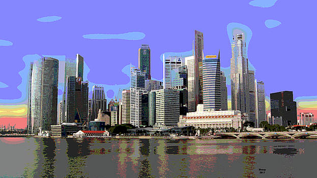 Singapore At Sunset by Charles Shoup