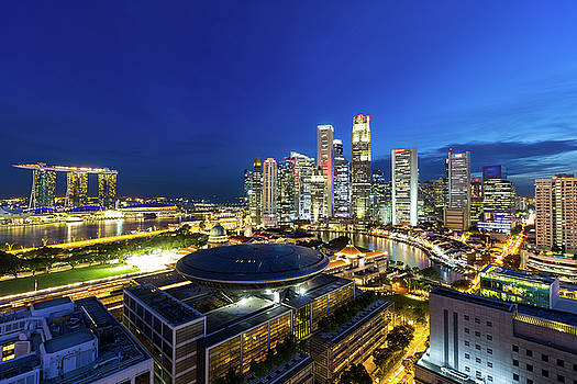 Singapore Central Business District Cityscape at Blue Hour by Jit Lim