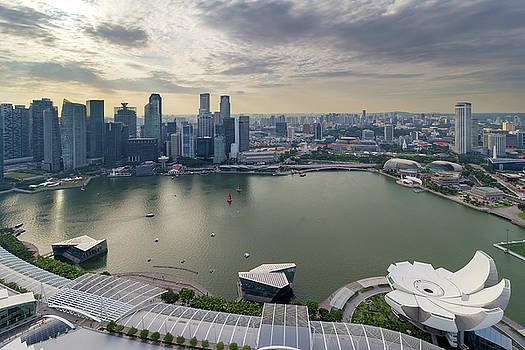 Singapore Marina Bay Cityscape Aerial View by Jit Lim