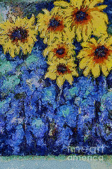 Six Sunflowers on Blue by Claire Bull
